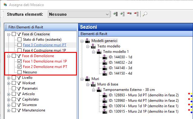 Software BIM - filtro su fasi di demolizione