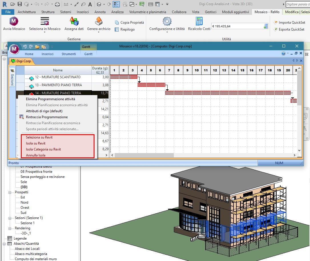 Software BIM - gantt sincronizzato con il disegno