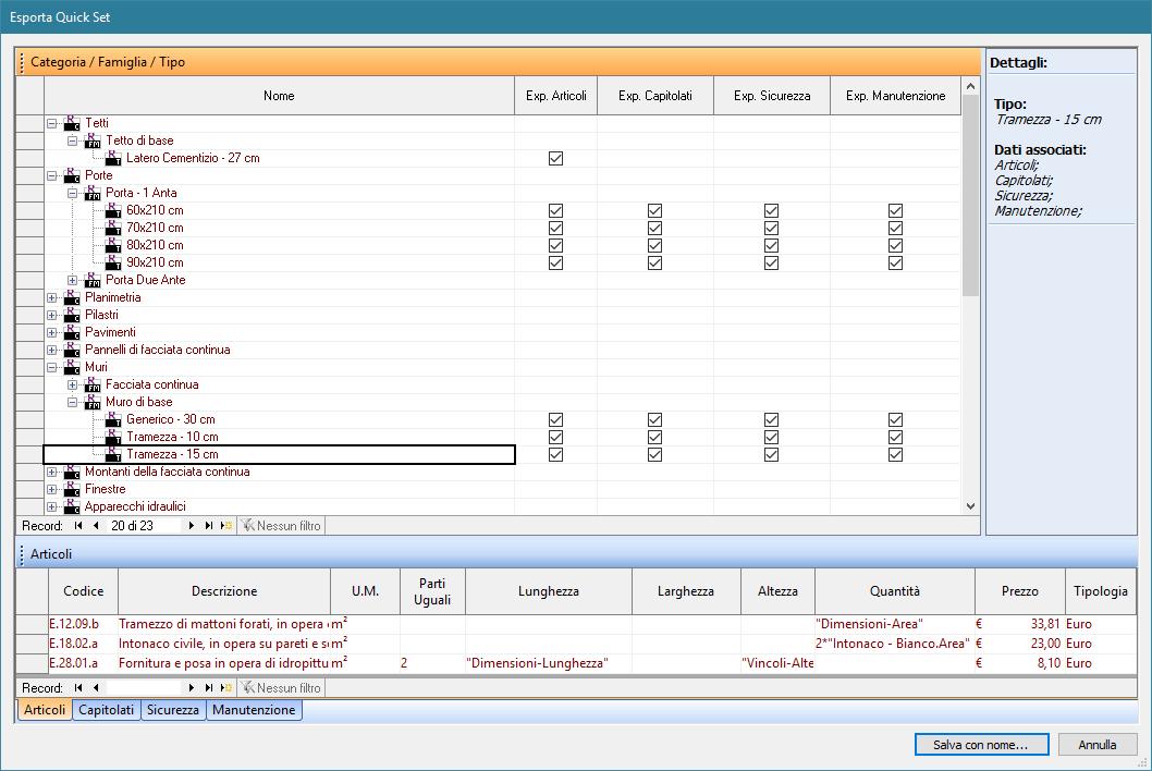 Software BIM - il lavoro di associazione salvato su un file