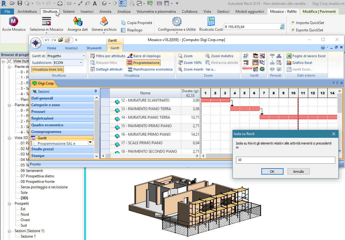 Software BIM - filtri per data sul modello di Revit