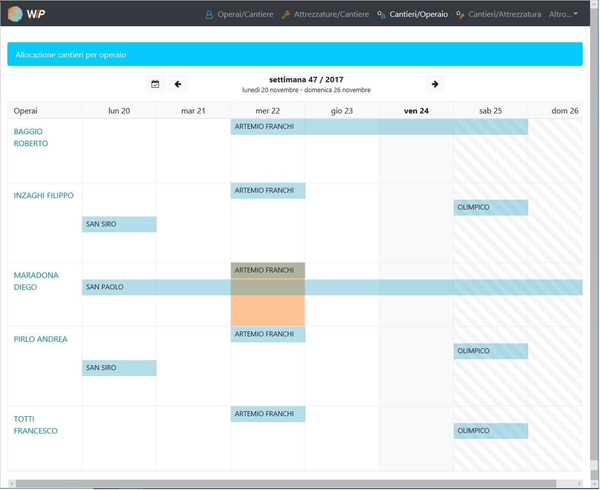 Software gestione risorse - assegnazione del cantiere all'operaio